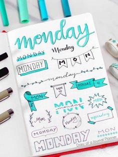 Monday bullet journal banners bullet journal banners headers bullet journal banners how to bullet journal banners to draw bullet journal banners step by step Bullet Journal Banners/Doodles Bullet Journal Inspo, Bullet Journal Titles, Bullet Journal Banner, Journal Fonts, Bullet Journal Lettering Ideas, Bullet Journal Notebook, Bullet Journal Aesthetic, Bullet Journal Writing Styles, Bullet Journal Daily Spread