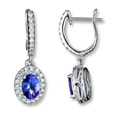 Tanzanite Earrings 3/8 ct tw Diamonds 14K White Gold @Jareds   http://m.jared.com/en/jaredstore/gemstones/tanzanite-earrings-3-8-ct-tw-diamonds-14k-white-gold/100237/100237.100238.100299