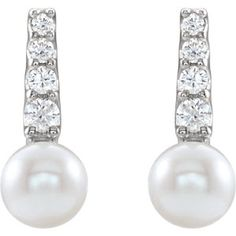 86957 / Set / White / Pearl / mm / Pair / Polished / White Freshwater Cultured Pearl and CTW Diamond Earrings w/Backs Pearl And Diamond Earrings, Pearl Diamond, What's Trending, Pearl White, Fresh Water, Birthstones, Sparkle, Jewels, Tableware
