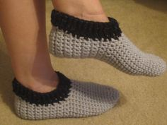 Crochet Gray Slippers With Black Trim - Size 7-8 by VioletsKnitwear on Etsy https://www.etsy.com/listing/213762096/crochet-gray-slippers-with-black-trim