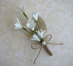 corsages White Wedding Boutinniere Burlap Flower Pin Rustic by FloroMondo
