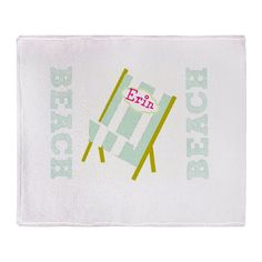 Personalize it! My Beach Chair Sea Glass Throw Blanket