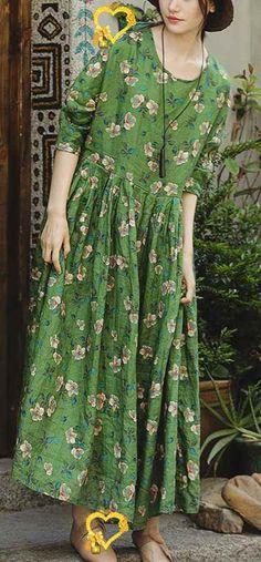 Loose o neck large hem linen clothes For Women Pakistani Runway green print cotton Dress summer<br> Simple Dresses, Casual Dresses, Fashion Dresses, Girls Dresses, Summer Dresses, Summer Clothes, Loose Dresses, Linen Dresses, Cotton Dresses