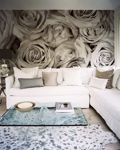 Living Room Beach Photo - Wallpaper of large-scale roses paired with a white sectional