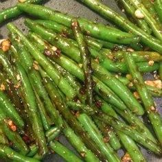 """chinese meals """"Every time my family and I go to a Chinese buffet we make a bee line for the green beans! This is a simple and tasty re-creation of that much loved side dish, goes well wi Chinese Buffet Green Beans, Chinese Greens, Chinese Cabbage, Chinese Garlic Green Beans, Chinese Style Green Beans, Chinese Side Dishes, Asian Green Beans, Chinese Vegetables, Mixed Vegetables"""
