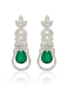 Minawala Emerald and Diamond Earrings