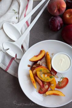 Stone Fruit in Lemon Thyme Syrup with Creme Fraiche [Gourmande in the Kitchen]