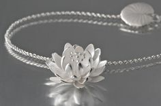 Silver water lily pendant