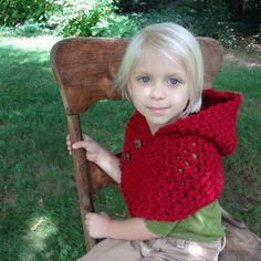 Red Hooded Warmer Little Girl's Hooded Cowl by Crocheted4Kids, $44.00