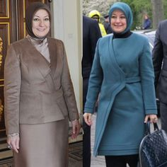 Hayrünnisa Gül was an elegant lady who always kept her own style. Islamic Fashion, Muslim Fashion, Hijab Fashion, Hijab Style Dress, Hijab Outfit, Business Outfits, Office Outfits, Plus Size Dressing Gowns, Hijab Stile