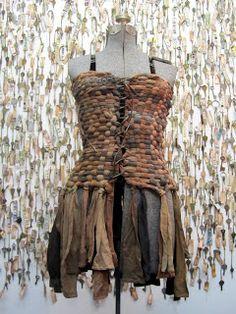 Woven pantyhose dress. Susan Lenz. Art In Stitches: Runaway Runway 2013