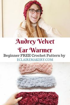 Looking for a stylish and chic ear warmer this winter? Introducing the Audrey Velvet Earwarmer made Crochet Headband Pattern, Crochet Beanie, Crochet Yarn, Free Crochet, Crochet Flowers, Beginner Crochet, Crochet Headbands, Crochet Granny, Irish Crochet