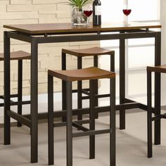 Amazon.com: Crown Mark Tyler 4-Piece Counter Height Table Set: Home ...