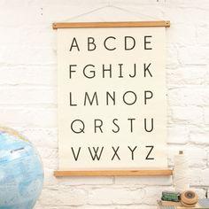 alphabet wall art in natural