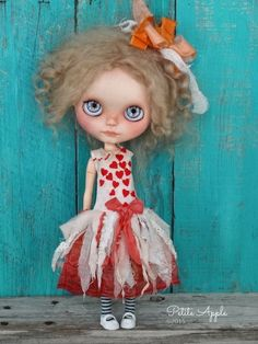 Blythe doll outfit Hearts shower OOAK dress by PetiteAppleShop
