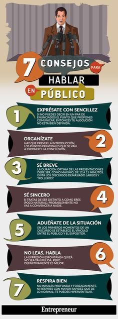 Hola: Una infografía con 7 consejos para Hablar en Público. Vía Un saludo