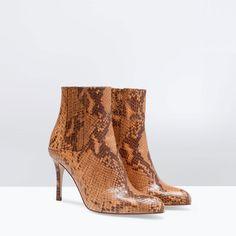 {high heel faux snake print bootie - ZARA FW2014}