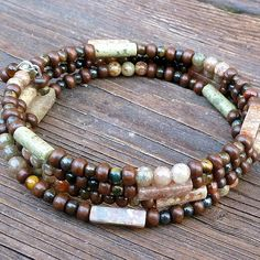 Autumn Jasper Memory Wire Bracelet  Autumn by ElectricPenguin