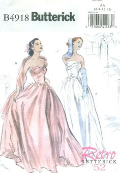 1950s Inspired Misses Evening Gown Sewing Pattern, Strapless, Prom Dress, Bridesmaid Dress, Reissued of 1950s Butterick 4918 Size 6-12. $8.00, via Etsy.