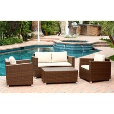 Abbyson Living DL-RS020-4PC Hampton 4-Piece Outdoor Sofa Set