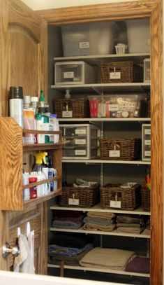 Bathroom closet organization, yep, I love ideas even though mine looks great, and my husband told me my organizational skills are beyond his comprehension. Love him.