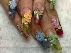 ghjf Fancy Nails, Bling Nails, 3d Nails, Trendy Nails, Swag Nails, Rose Nails, Flower Nails, Beautiful Nail Art, Gorgeous Nails