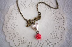 Bridesmaid gift Loving heart cottage rose necklace with gift box by missvirgouk, $13.50