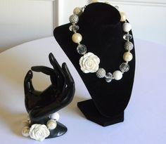 Girls Bubble Necklace & Bracelet Set Silver and Ivory w/ White Rose Pendant…