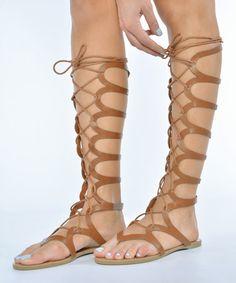 Tan Tina Lace-Up Sandal #zulily #zulilyfinds