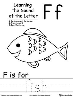 Learning Beginning Letter Sound: F: Learn the sound of the letter F by saying the name of the picture and then tracing the word. This printable worksheet is perfect for children to associate the alphabet letters with sounds.