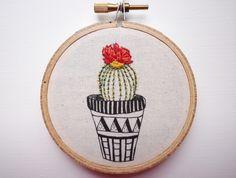Modern Embroidery, 'Cactus 2' 3 inch Hoop Art