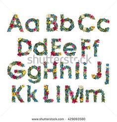 Floral Letters. Flower Capital Uppercase and Lowercase Alphabet . Colorful font. Vector illustration. Grotesque style alphabet.