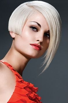 Platinum blonde hair style with unique hair cut.  #platimunblonde #hairstyles #haircut