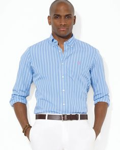 Ralph Lauren Blue Polo Striped Poplin Sport Shirt Custom Fit