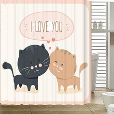 "Angelwings Cheap Price Fashionable Designed Shower Curtains (72"" X 72"") With Love Cats Pattern"