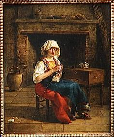 Italienne dans un intérieur Sablet Jacques (1749-1803) (attribué à) Seated woman in front of large fireplace. [Awkwardly composed.[