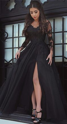 Black Long Sleeve Lace Split Prom Dress, 2018 Evening Party Gowns On Sale. Free Shipping, Free Coupons. Shop @27dress.com NOW!