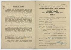 Certificate Registration of Alien issued by the Commonwealth of Australia to Mr Ah Him, 1940.  Asian aliens (non-citizen residents) could not apply for naturalisation until 1957. Mr Ah Him arrived in Australia in 1895 and travelled to China on several occasions. Here he asks for exemption from the dictation test on his return to Australia. The dictation test was used by immigration officers as a means of restricting entry into Australia and enforcing the White Australia Policy.