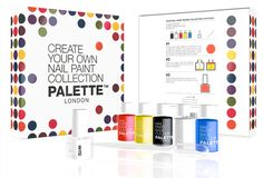 Create Your Own Nail Paint nail varnish mixing kit with graphics designed by Paul Cartwright Branding for Palette London.