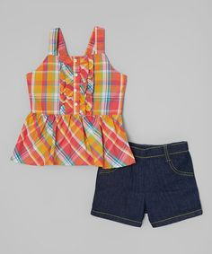 Love this Red Plaid Top & Shorts - Infant, Toddler & Girls on #zulily! #zulilyfinds