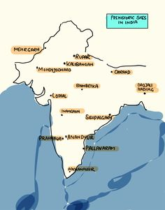 Location of Prehistoric Sites in India. Here's the map which shows location of prehistoric sites in India. Ancient Indian History, Ancient World History, History Of India, India World Map, India Map, Gernal Knowledge, General Knowledge Facts, Political Science, Social Science