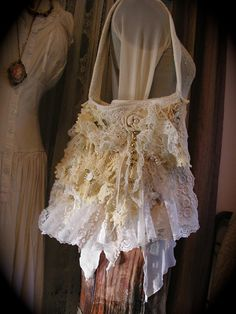 Shabby Victorian Bag, fancy embellished layered vintage doilies ruffled lace