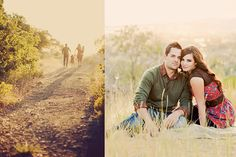 Love it. Couples pose for us. Sitting on a blanket in a tall grass field, getting close :)