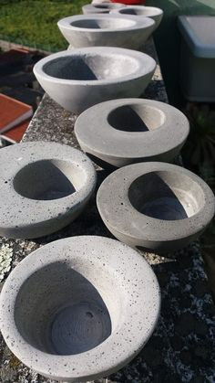 "Like how the ""holes"" are off centre. Diy Concrete Planters, Concrete Sculpture, Concrete Forms, Concrete Cement, Cement Art, Concrete Crafts, Concrete Projects, Cobblestone Patio, Planter Box Plans"
