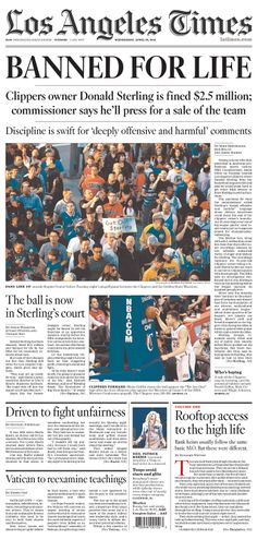 """LA Times on Donald Sterling: """"BANNED FOR LIFE"""""""