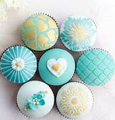 Assorted Turquoise & Gold Wedding Cupcakes
