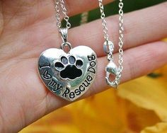 Charm Necklace - .925 Sterling Silver Chain - I Love My Rescue Dog Pendant - Rescued Puppy Paw Print Heart Gift