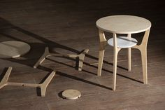 Flat-Pack elegance - Nort Table by Estudio Estres - constructed from a single, planar kit derived from the same 1.5cm thick ash wood board