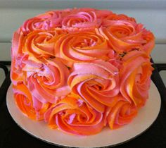 Pink and orange rosette cake - top cake? Pumpkin 1st Birthdays, Pumpkin First Birthday, Fall Birthday, Birthday Ideas, Orange Birthday Parties, Pink Birthday Cakes, Orange Party, Halloween Party Kuchen, Halloween Smash Cake