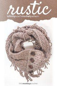 Rustic Fringe Infinity Scarf Crochet Pattern  |  Free Infinity Scarf Crochet…